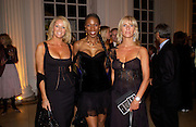 Sarah Bosnage, 'Tonic' and Lisa Loud, British Luxury Club, Celebration, the Orangery, Kensington Palace. 16 September 2004. SUPPLIED FOR ONE-TIME USE ONLY-DO NOT ARCHIVE. © Copyright Photograph by Dafydd Jones 66 Stockwell Park Rd. London SW9 0DA Tel 020 7733 0108 www.dafjones.com