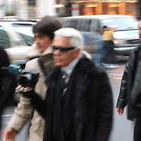 NEW YORK 10-2-2005<br />Karl Lagerfield oversees a photo shoot on Fifth Avenue in New York during fashion week in the city last week.<br />Picture by Don MacMonagle