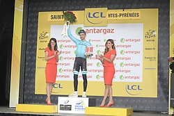 July 25, 2018 - Bagneres De Luchon, FRANCE - Estonian Tanel Kangert of Astana receives the combativity award for the most aggressive rider after the 16th stage of the 105th edition of the Tour de France cycling race, 218km from Carcassone to Bagneres-de-Luchon, France, Tuesday 24 July 2018. This year's Tour de France takes place from July 7th to July 29th...BELGA PHOTO YORICK JANSENS - FRANCE OUT (Credit Image: © Yorick Jansens/Belga via ZUMA Press)