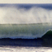 USA, California, San Diego. A retro panoramic shot of a breaking wave.