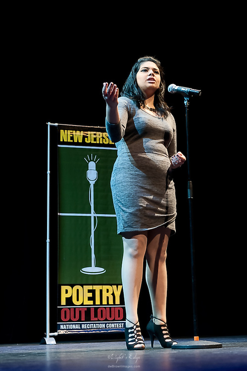 Asia Acevedo, a contestant in The  Poetry Out Loud, Regional 5,  competition at SOPAC.