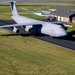 Aerial view of Lockheed C5 galaxy in taxiway at Delaware Air National Guard, Nee Castle county Airport