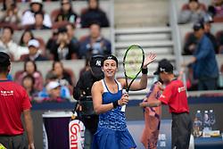 October 6, 2018 - Anastasija Sevastova of Latvia celebrates winning her semi-final match at the 2018 China Open WTA Premier Mandatory tennis tournament (Credit Image: © AFP7 via ZUMA Wire)