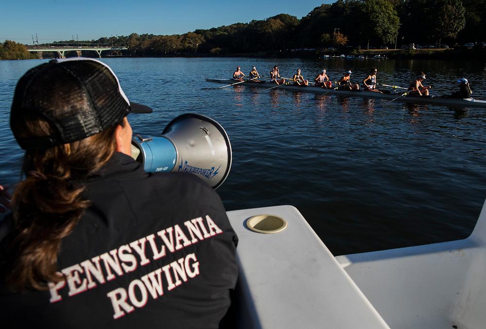 Members of the University of Pennsylvania crew teams during the 2017 fall season in Philadelphia, Pennsylvania.