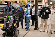 29 OCTOBER 2020 - DES MOINES, IOWA: People in line for early voting at the Polk County Auditor's Office in Des Moines. There have been long lines for early voting all month. According to the Polk County Auditor's Office, as of October 27, 120,752 ballots have been returned of the 144,028 ballots requested for a return rate of 83.84 percent. Iowa starts counting early ballots the morning of Nov. 3.     PHOTO BY JACK KURTZ