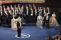 Nobelpreisverleihung 2016 in der Konzerthalle in Stockholm / 101216 ***Yoshinori Ohsumi, The Nobel Prize in Physiology or Medicine 2016, Kˆnigin  Silvia, prince Daniel, king Carl XVI Gustaf, crown princess Victoria <br />  ***The annual Nobel Prize Award Ceremony at The Concert Hall in Stockholm, December 10th, 2016***