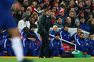 Chelsea Manager Antonio Conte looks on from his technical area. Premier League match, Liverpool v Chelsea at the Anfield stadium in Liverpool, Merseyside on Saturday 25th November 2017.<br /> pic by Chris Stading, Andrew Orchard sports photography.
