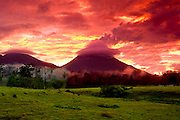 Costa Rican Landscape Is Dominated By A Very Active Arenal Volcano At Sunset.