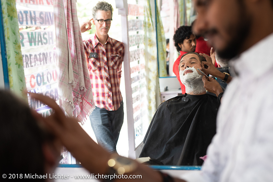 Grant Peterson gets a haircut on day-8 of our Himalayan Heroes adventure, a free day in Pokhara, Nepal. Tuesday, November 13, 2018. Photography ©2018 Michael Lichter.