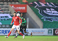 Crewe Alexandra forward Chris Porter (9) in action with Plymouth Argyle Defender Jerome Opoku (24) during the EFL Sky Bet League 1 match between Plymouth Argyle and Crewe Alexandra at Home Park, Plymouth, England on 16 January 2021.