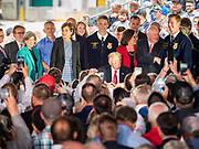 11 JUNE 2019 - COUNCIL BLUFFS, IOWA: US President DONALD J. TRUMP signs an executive order calling for research in biofuels at Southwest Iowa Renewable Energy. President Trump visited Southwest Iowa Renewable Energy in Council Bluffs Tuesday to announce that his administration was relaxing rules on E15, an ethanol additive for gasoline. Iowa is one of the leading ethanol producers in the U.S. and Iowa corn farmers hope the administration's change in E15 rules will spur demand for corn.          PHOTO BY JACK KURTZ
