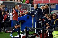 Fotball , 5. september 2019 , Euro-Qual. Norge- Malta<br /> Norway - Malta 2-0<br /> <br /> 23 Erling Braut Haaland   ,  Norge og Lars Lagerback<br /> Lars Lagerbäck