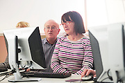 """14/10/2014 14/10/2014 Bredan """"Speedie"""" Smith   teaching coding all over Galway including retired Galway teacher Padraigin Moylan,  at the Galway Education centre learning coding during the EU CODE WEEK. Photo:Andrew Downes a"""