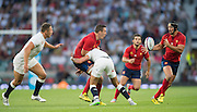 Twickenham, England.  Right, Alexandre DUMOULIN, sets himself to collect the passed ball during the QBE International. England vs France [World cup warm up match]  Saturday.  15.08.2015,  [Mandatory Credit. Peter SPURRIER/Intersport Images].