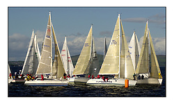 Yachting- The start of the Bell Lawrie Scottish series 2002 at Gourock racing overnight to Tarbert Loch Fyne where racing continues over the weekend.<br /><br />Class 3 start, Blyth Spirit - X332 GBR6917T, 2 Sassy Sunfast 37 IRL3702 and Elanor Elan 333 3331C Overall winner . <br />Pics Marc Turner / PFM