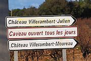Chateau Villerambert-Moureau. Caveau tasting room and shop open every day. Chateau Villerambert-Julien near Caunes-Minervois. Minervois. Languedoc. France. Europe.