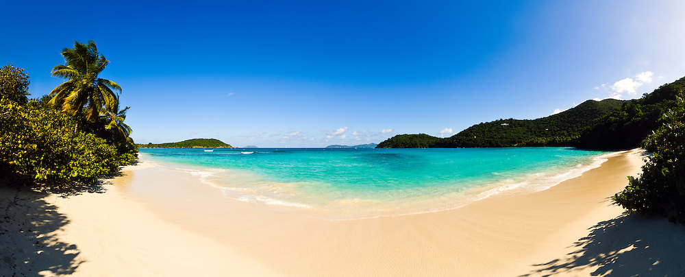 Hawksnest Bay on St. John in the US Virgin Islands on a clear sunny day. High resolution panorama.