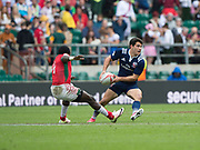 """Twickenham, Surrey United Kingdom. USA's Madison Hughes, looks   for pass, as Augusttine LUGONZO, fronts up for a tackle, during the Pool A match, USA vs Kenya """"2017 HSBC London Rugby Sevens"""",  Saturday 20/05/2017 RFU. Twickenham Stadium, England    <br /> <br /> [Mandatory Credit Peter SPURRIER/Intersport Images]"""