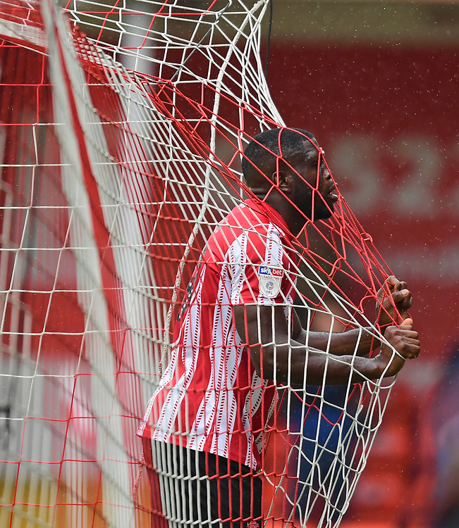 Lincoln City's John Akinde reacts after missing a first half chance<br /> <br /> Photographer Chris Vaughan/CameraSport<br /> <br /> The EFL Sky Bet League Two - Lincoln City v Crawley Town - Saturday September 8th 2018 - Sincil Bank - Lincoln<br /> <br /> World Copyright © 2018 CameraSport. All rights reserved. 43 Linden Ave. Countesthorpe. Leicester. England. LE8 5PG - Tel: +44 (0) 116 277 4147 - admin@camerasport.com - www.camerasport.com