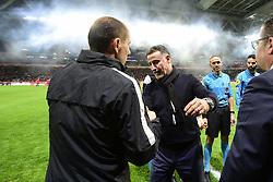 March 15, 2019 - Lille, France, FRANCE - accolade entre Christophe GALTIER - entraineur Lille et JARDIM Leonardo - entraineur  (Credit Image: © Panoramic via ZUMA Press)