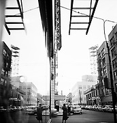 9969-530604-1. reflections in window glass, SW Broadway looking north, Benson Hotel, June 4, 1953