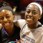 Sisters Chiney Ogwumike, (right), Connecticut Sun and Nneka Ogwumike, Los Angeles Sparks during a media session before playing against each other for the fist time in the WNBA during the Connecticut Sun Vs Los Angeles Sparks WNBA regular season game at Mohegan Sun Arena, Uncasville, Connecticut, USA. 3rd July 2014. Photo Tim Clayton