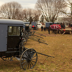 Amish buggies for sale at a public auction in Lancaster County, Pennsylvania.