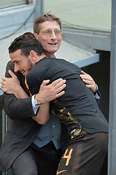 April 28, 2018 - Rome, Italy - President of Chievo Luca Campedelli greets Alessandro Florenzi during the Italian Serie A football match between A.S. Roma and Chievo at the Olympic Stadium in Rome, on april 28, 2018. (Credit Image: © Silvia Lore/NurPhoto via ZUMA Press)