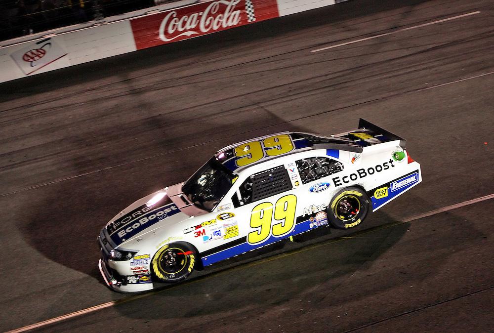 Apr 28, 2012; Richmond, VA, USA; NASCAR Sprint Cup driver Carl Edwards (99) during the Capital City 400 at Richmond International Raceway. Mandatory Credit: Peter Casey-US PRESSWIRE.