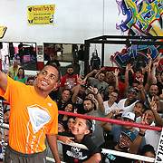 KISSIMMEE, FL - OCTOBER 05: Puerto Rican boxer Felix Verdejo takes a selfie photo with fans after his media workout event at the Kissimmee Boxing Gym on October 4, 2015 in Kissimmee, Florida. Verdejo is returning from a hand injury and announced his next fight will take place in Kissimmee on October 31. (Photo by Alex Menendez/Getty Images) *** Local Caption *** Felix Verdejo
