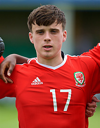 RHYL, WALES - Monday, September 4, 2017: Wales' Sion Spence lines-up for the national anthem before an Under-19 international friendly match between Wales and Iceland at Belle Vue. (Pic by Paul Greenwood/Propaganda)