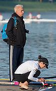 Amsterdam. NETHERLANDS. Lightweight Women's Single Sculls USA LW1X<br /> Kate BERTKO and coach, Bernhard STOMPOROWSKI. 2014 FISA  World Rowing. Championships.  De Bosbaan Rowing Course . 07:58:04  Thursday  21/08/2014  [Mandatory Credit; Peter Spurrier/Intersport-images]