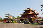 Bell tower, Hien Lam pavilion and the Nine Dynastic Urns, Hue Citadel / Imperial City, Hue, Vietnam