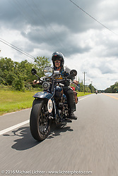 Steve Macdonald riding his 1928 Henderson Deluxe during Stage 1 of the Motorcycle Cannonball Cross-Country Endurance Run, which on this day ran from Daytona Beach to Lake City, FL., USA. Friday, September 5, 2014.  Photography ©2014 Michael Lichter.