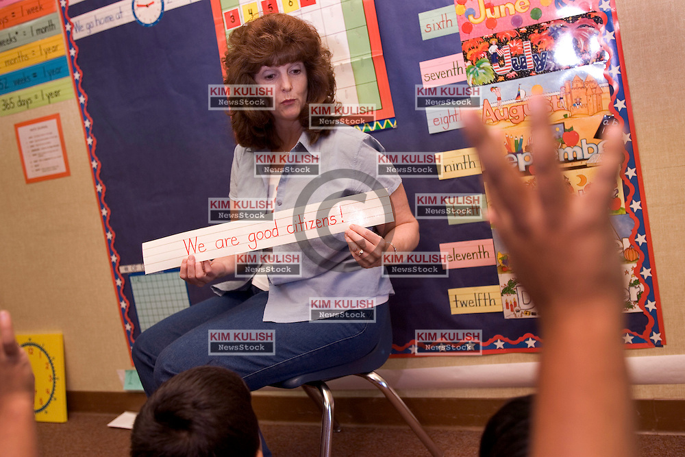 Teacher Debra Supnet teaches good citizenship at Fairview Elementary School, in Modesto, Calif.  Fairview is one of the 16 First Amendment Schools, sponsored by the non-partisan First Amendment Center ,  in the nation.  Photo by Kim Kulish