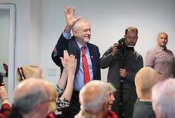 Labour leader Jeremy Corbyn waves to supporters during an election campaign visit to Peterborough United Football Club.