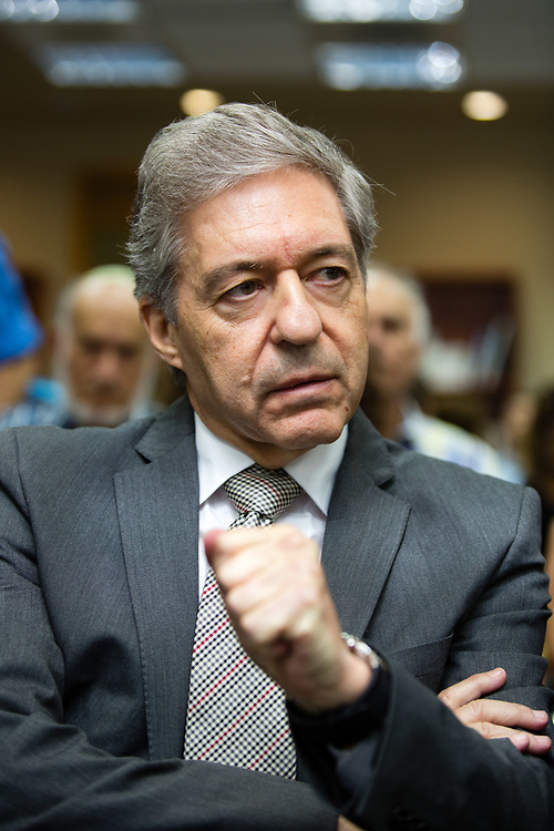 Dr. Yossi Beilin, an Israeli politician and scholar who has served in multiple ministerial and leadership positions in the Israeli government is seen during a Kohelet Policy Forum conference in Jerusalem, Israel, on October 7, 2015.
