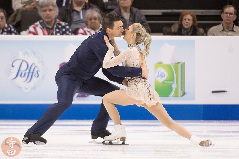 January 4, 2018; San Jose, CA, USA; Alexa Scimeca-Knierim and Christopher Knierim performs in the pairs short program during the 2018 U.S. Figure Skating Championships at SAP Center.