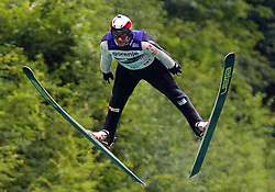 Primoz Peterka during his last jump in his very successful career, he is one of the best ski jumpers in history, on July 2, 2011, in Kranj, Slovenia. (Photo by Vid Ponikvar / Sportida)