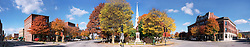 Fall foliage panorama of Central Square, Keene, New Hampshire.