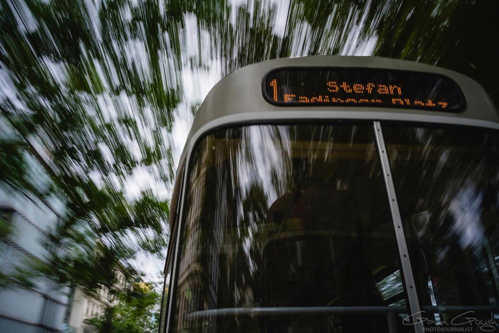 No. 1 tram travelling through a leafy suburb, Donaukanal, Vienna, Austria