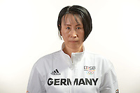 Jie Schöpp poses at a photocall during the preparations for the Olympic Games in Rio at the Emmich Cambrai Barracks in Hanover, Germany. July 04, 2016. Photo credit: Frank May/ picture alliance. | usage worldwide