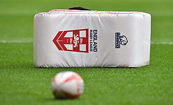 Close up of the England training equipment before the International match at Anfield, Liverpool.