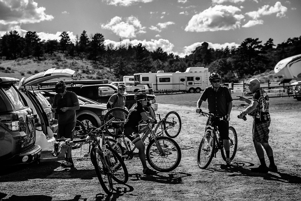 Unknown riders sit and talk in the parking lot of Curt Gowdy State Park in Eastern Wyoming.