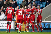 Middlesbrough's Patrick Bamford (3rd right) celebrates scoring his side's second goal with teammates<br /> <br /> Photographer Craig Mercer/CameraSport<br /> <br /> Football - The Football League Sky Bet Championship - Millwall v Middlesbrough - Saturday 6th December 2014 - The Den - London<br /> <br /> © CameraSport - 43 Linden Ave. Countesthorpe. Leicester. England. LE8 5PG - Tel: +44 (0) 116 277 4147 - admin@camerasport.com - www.camerasport.com
