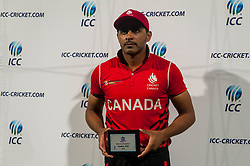 September 22, 2018 - Morrisville, North Carolina, US - Sept. 22, 2018 - Morrisville N.C., USA - Team Canada RIZWAN CHEEMA (99) was named the ''Man of the Match'' after the ICC World T20 America's ''A'' Qualifier cricket match between USA and Canada. Both teams played to a 140/8 tie with Canada winning the Super Over for the overall win. In addition to USA and Canada, the ICC World T20 America's ''A'' Qualifier also features Belize and Panama in the six-day tournament that ends Sept. 26. (Credit Image: © Timothy L. Hale/ZUMA Wire)