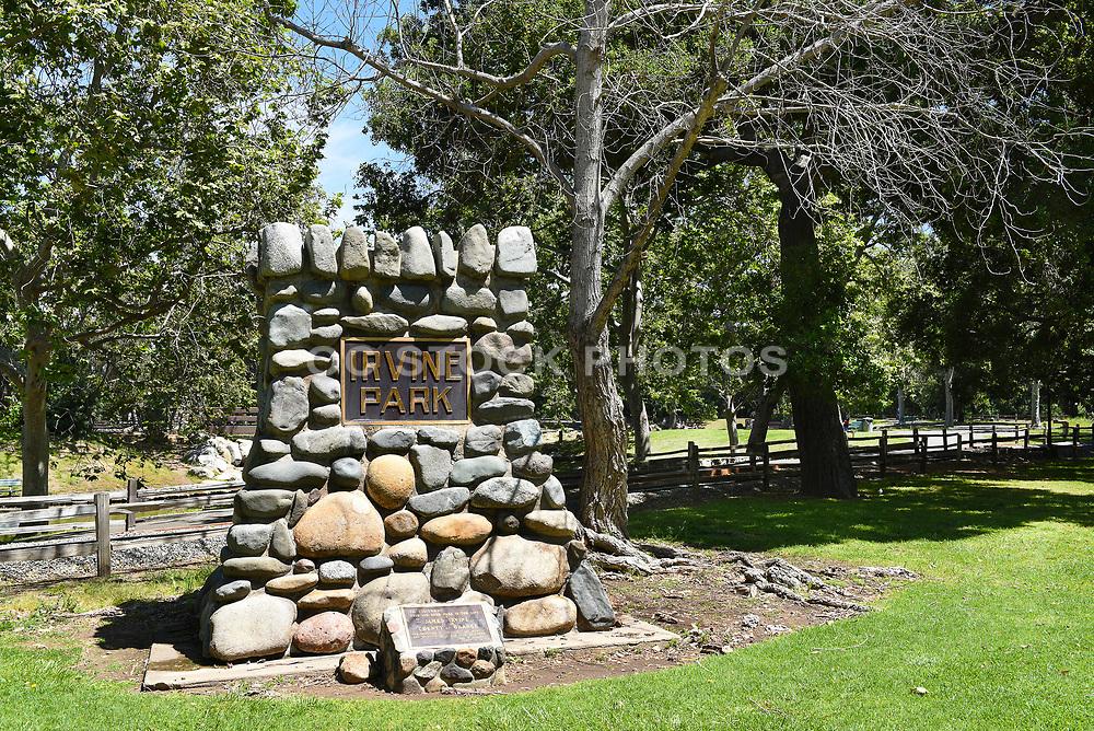 Cobblestone Monument Dedication Marker at Irvine Regional Park