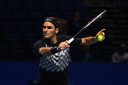 November 10, 2017 - London, England, United Kingdom - Roger Federer of Switzerland is pictured during a training session prior to the Nitto ATP World Tour Finals at O2 Arena, London on November 10, 2017. (Credit Image: © Alberto Pezzali/NurPhoto via ZUMA Press)