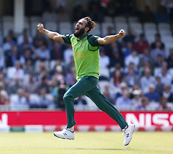 May 30, 2019 - London, England, United Kingdom - Imran Tahir of South Africa celebrate the catch of Joe Root of England caught by Kagiso Rabada of South Africa.during ICC Cricket World Cup Match 1 between England and South Africa at the Oval Stadium , London,  on 30 May 2019. (Credit Image: © Action Foto Sport/NurPhoto via ZUMA Press)
