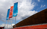 UK, August 6 2012: Three Olympic flags flutter outside the Velodrome on Day 10 of the London 2012 Olympic Games. Copyright 2012 Peter Horrell.